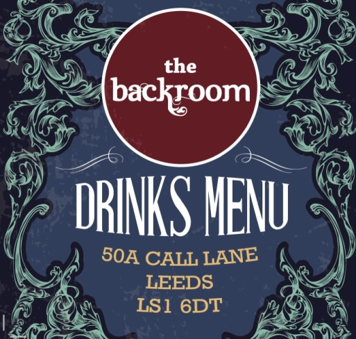 The Backroom drinks menu